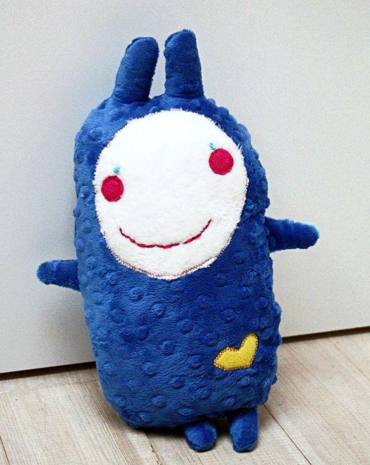 stuffed blue boy toy, funny plush creature, valentine boy gift, navy softie, fleece minky softie, blue plushie, baby boy gift, kids gift by milulaki on Etsy