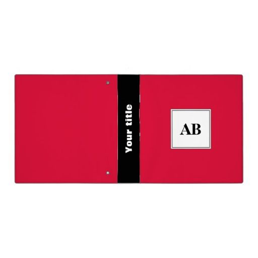 Crimson red solid color with monogram 3 ring binder