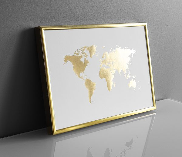World map poster | Prints with gold | Brass interior design. Desenio.com