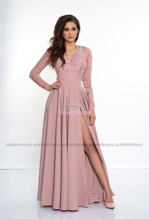 82b27f6203 Sukienkowo.com - IVANKA - Długa sukienka z koronkową górą i długim rękawem  RÓŻOWA