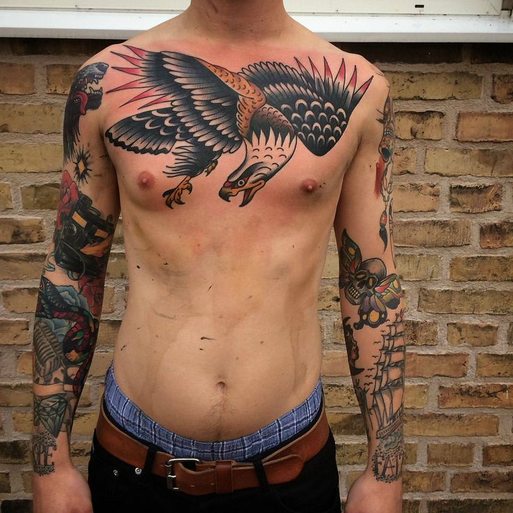 cool Classic eagle chest piece by Karl @Malmö Classic Tattooing ,Sweden