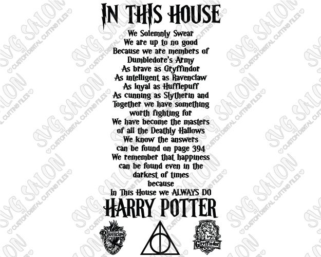 In This House We Do Harry Potter Custom DIY Vinyl Wall Decal Cutting File in…