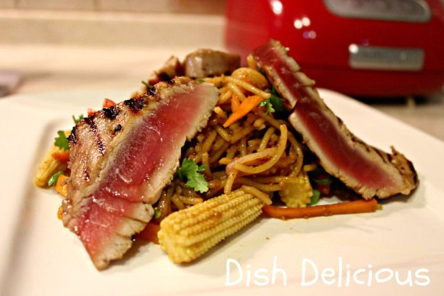Tuna teriyaki with spicy peanut noodles Ingredients 2 tuna steaks 1 tablespoon soy sauce 1 garlic clove, minced 1 tsp sweet soy 1 tsp grated ginger 1/2 tsp olive oil corn pasta (or rice noodles) for 2 2 cups julienned veg 1/2 small red onion finely sliced 1 garlic clove, minced 2 tsp grated ginger 1 tsp sesame oil 1/4 cup natural (organic) peanut butter 2 tbsp low-sodium soy sauce 1 tsp chili paste 1 tsp hoisin sauce 1 tsp honey 1 tbsp rice vinegar salt & pepper Click image for directions