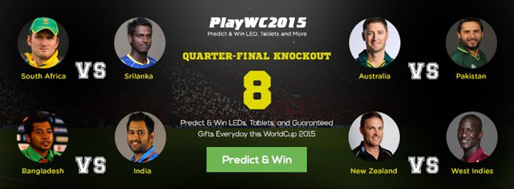 All the top teams have geared up for knockouts. Here's an insight about the knockout stage matches. Predict and Win - #GrabOnPredictor. Click here to Predict -- http://bit.ly/WC2015-GrabOnPredictor #PlayAndWin #PredictAndWin #PlayWC2015