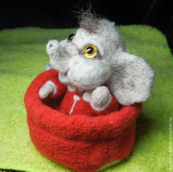 Купить Малыш Слоник (валяная игрушка, миниатюра) - слоник, слоненок, Сухое валяние, валяный слон