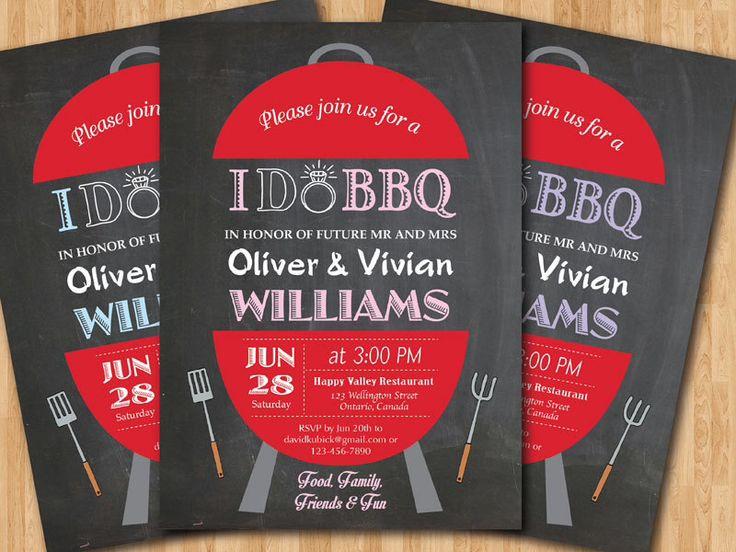 Backyard Bbq Wedding Invitations: I Do BBQ Wedding Invitation. Chalkboard Backyard Invite
