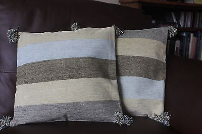 "New 2 handwoven cushion covers 100% cotton green cream Stripe 16"" RRP £19 each"