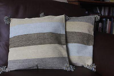 "New 2 handwoven cushion covers 100% cotton green cream Stripe 16"" RRP £19 each"