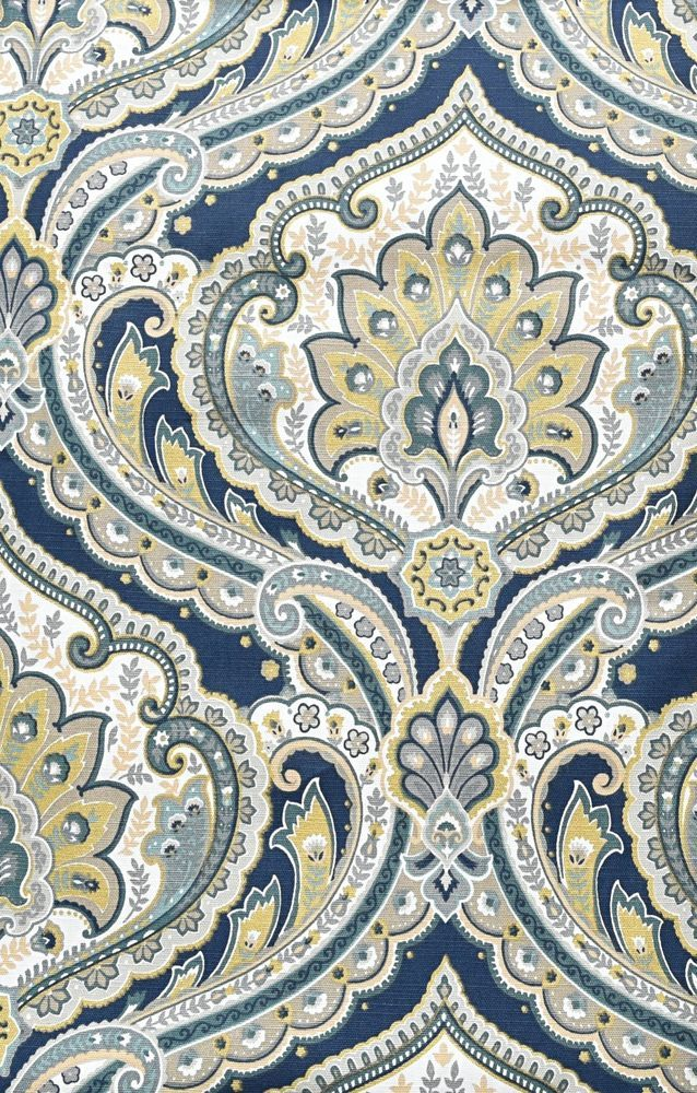 "Envogue Navy Gold Damask Paisley Medallions PAIR Curtains 2pc Window Panels 96"" #Envogue #Contemporary"