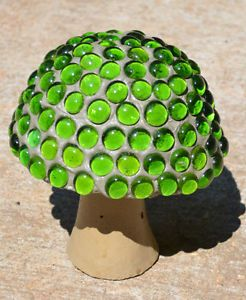 Mushroom Garden Decor | Cement Concrete Glass Gem Mushroom Yard Garden Decor Green | eBay
