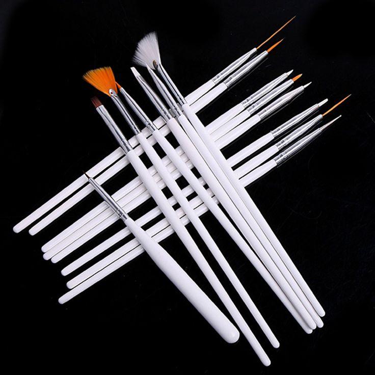 2017 Top Verkauf 15 Teile/satz Nail art Dekorationen Pinsel Set Werkzeuge professionelle Malerei Stift Für Falsche Nagelspitzen Uvnagelgel polnisch