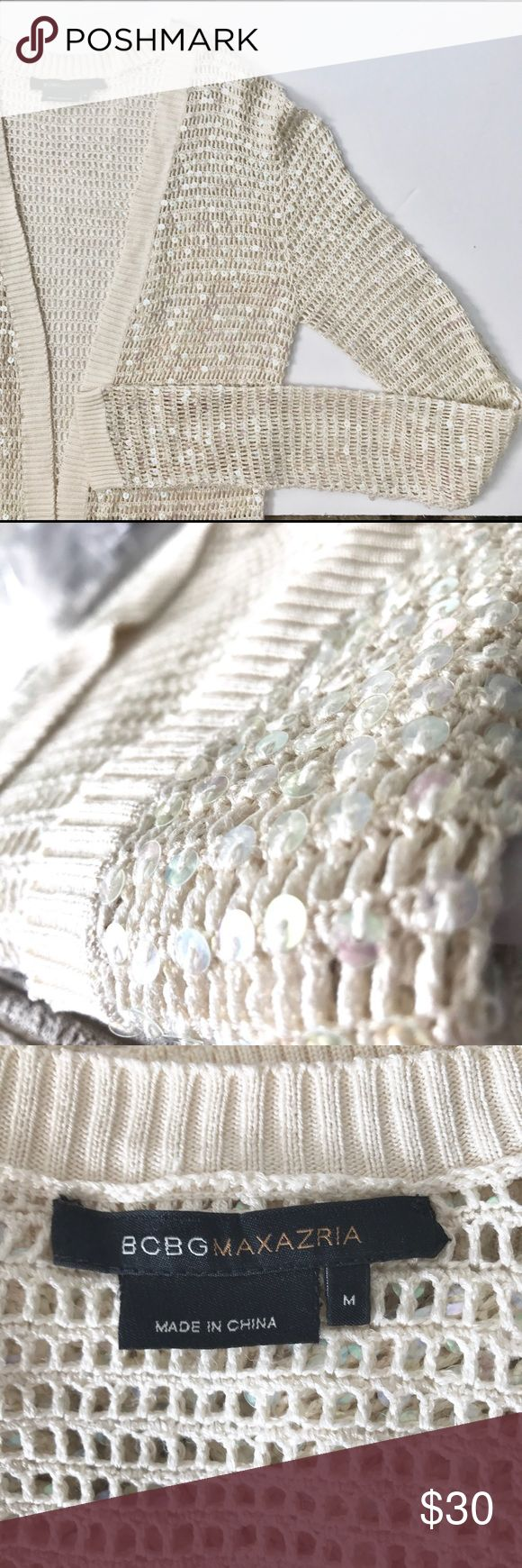 BCBGMaxAzria Sequined Cardigan BCBGMaxAzria Sequined Cardigan, off white bone color, size M, perfect for spring layering, smoke free home, NWOT BCBGMaxAzria Tops