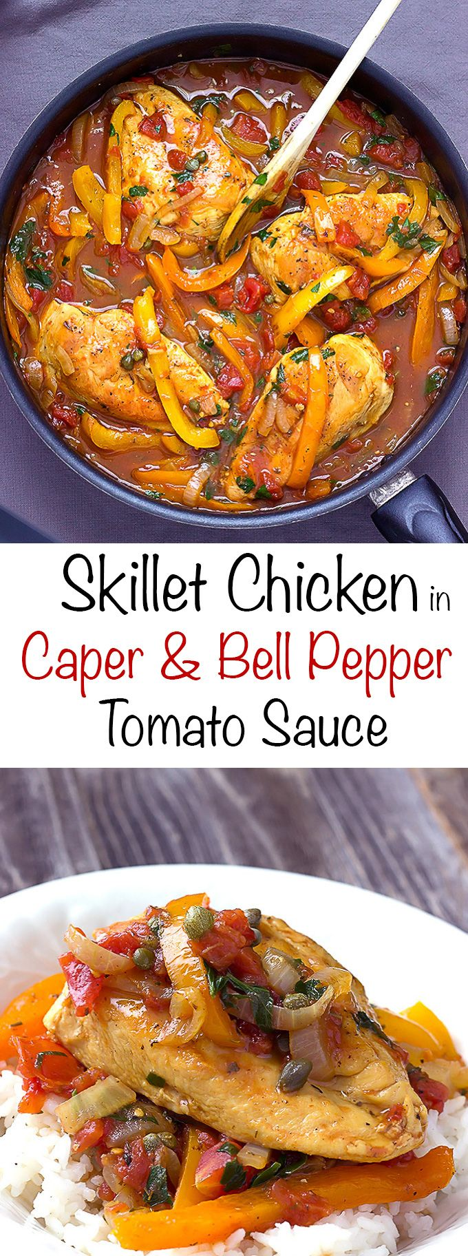 Skillet chicken in caper sweet pepper tomato sauce - A simple chicken dinner with a flavorful tomato sauce with salty capers and sweet bell peppers.  Perfect served over rice, mashed potatoes, pasta, or with crusty bread.