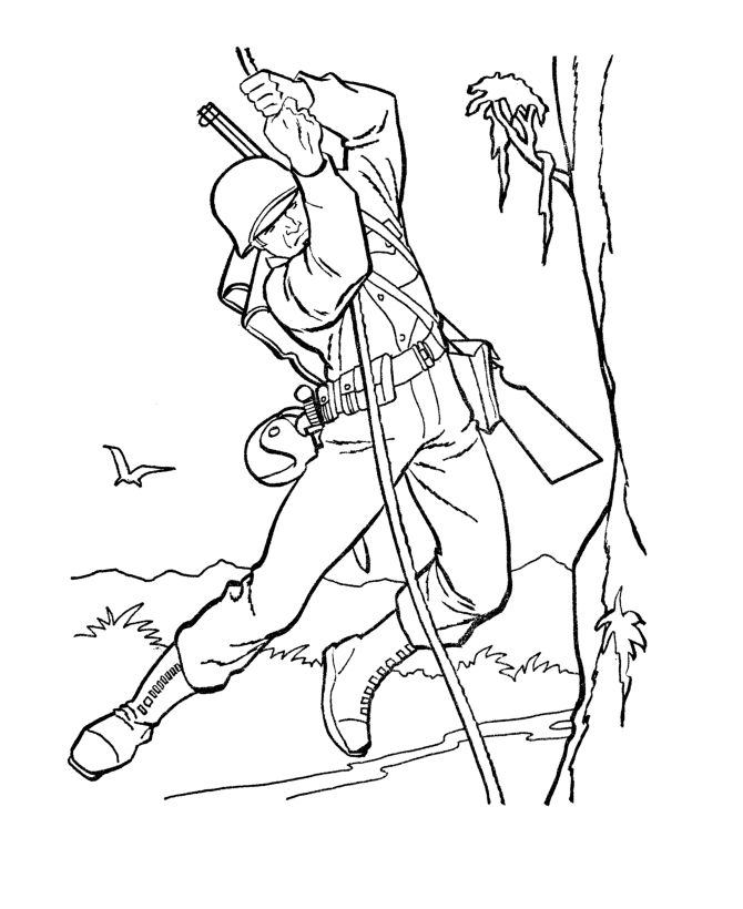 armed forces day coloring pages us army soldier world war ii ... - Military Coloring Pages