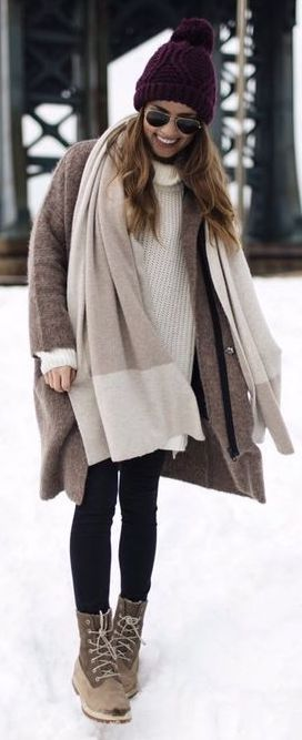 #Winter #Outfits / Monochrome Layering + Burgundy Beanie