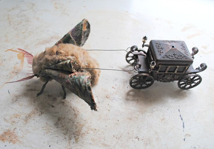 Moth pulling a tiny coach By Mister Finch