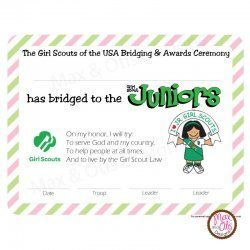 Girl Scout Juniors Bridging & Awards Certificate Girl Scout Juniors Bridging & Awards Ceremony - printable PDF certificate [Juniors Bridging Awards Cert-pnk] - $5.00 : Max & Otis Designs, handcrafted gifts from a short-attention span crafter