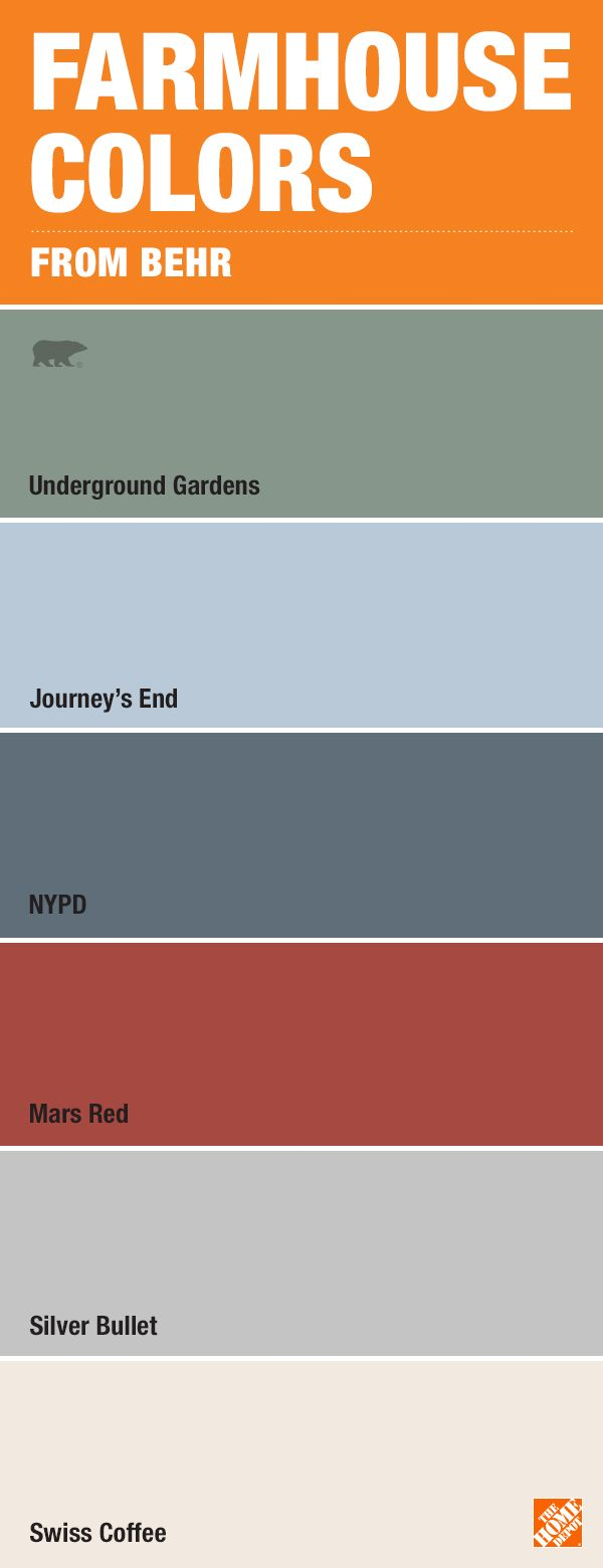 If you are in love with the farmhouse look, consider these paint colors from BEHR. It's the perfect palette for a warm backdrop to a room or the focal point of a DIY project. Browse through BEHR's collection of unique colors like Underground Gardens, Journey's End, NYPD, Mars Red, Silver Bullet and Swiss Coffee.