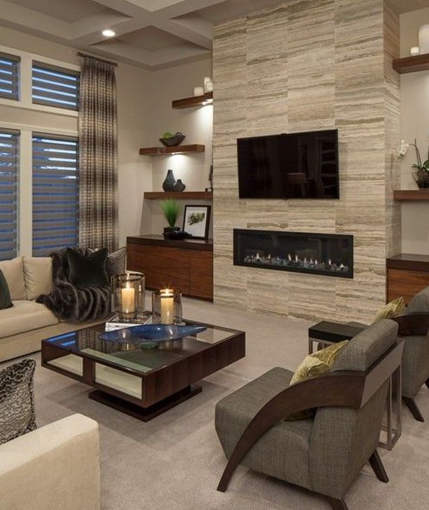 Example Of A Trendy Formal Carpeted Living Room Design In Omaha With A  Ribbon Fireplace A