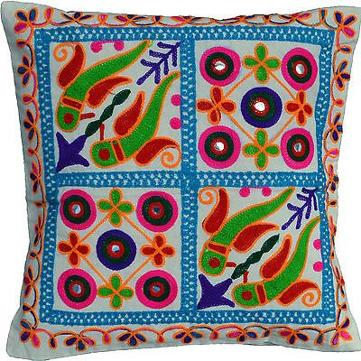 Cushion-Covers-40cm-16-Machine-Washable-Cream-Cotton-Heavy-Embroidery-Birds-NEW