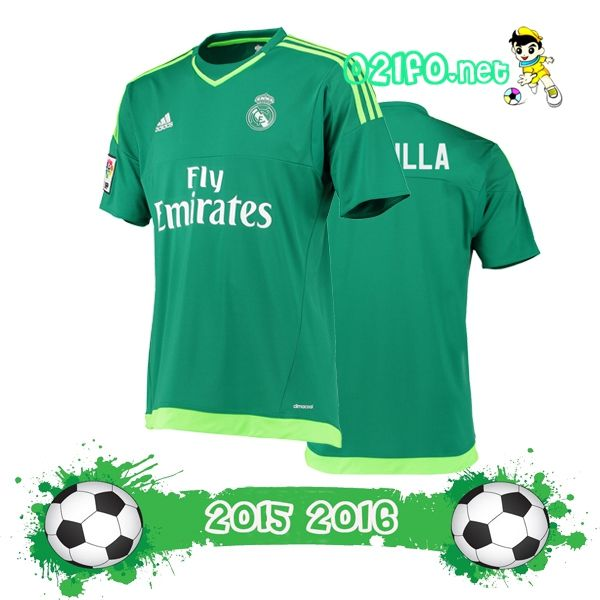 Acheter maillot gardien real madrid exterieur 2015 2016 vert manche courte Thailande Discount
