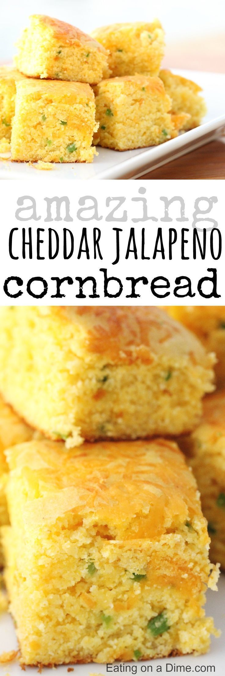Cheddar Jalapeno Cornbread recipe.  Today I'm sharing with you a delicious cheddar jalapeño cornbread recipe that I know your family will love.   There are even some great chili recipes to make a complete meal! #Recipes