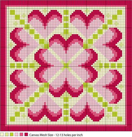 Long Stitch Hearts Needlepoint Pattern: Bonus Pattern - Long Stitch Hearts Medallion