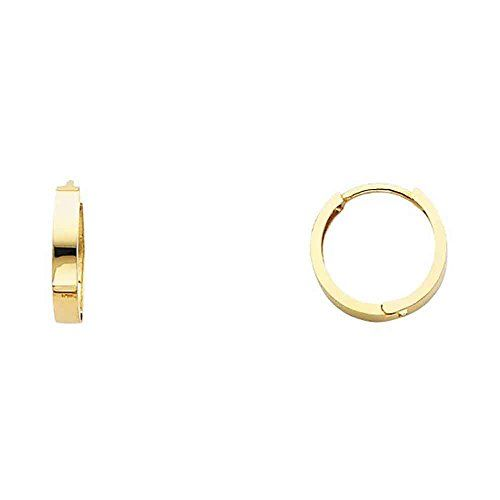 "Women's 14k Yellow Gold 2.5mm Wide Huggies Small Hoop Earrings (0.51"" Diameter)…"