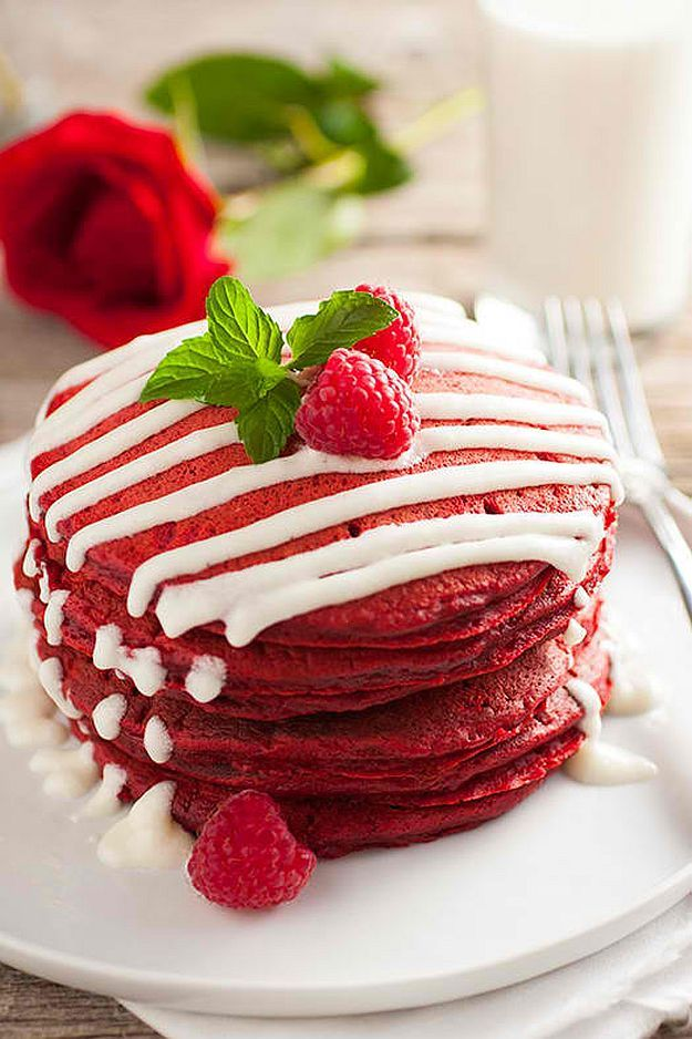 Red Velvet Pancakes with Cream Cheese Glaze | Family Thanksgiving Breakfast = Homemade Pancakes | Mouthwatering Pancake Recipes