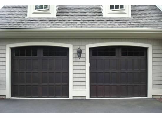 Garage Doors - Wayne Dalton 16 lite arched top in Walnut, Model 9700