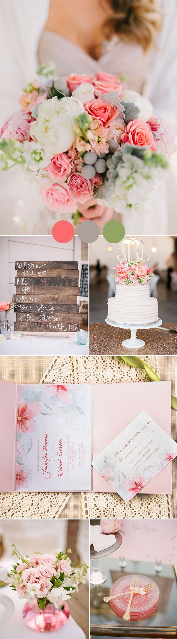 pink and gray country wedding colors wit gold glitter accents