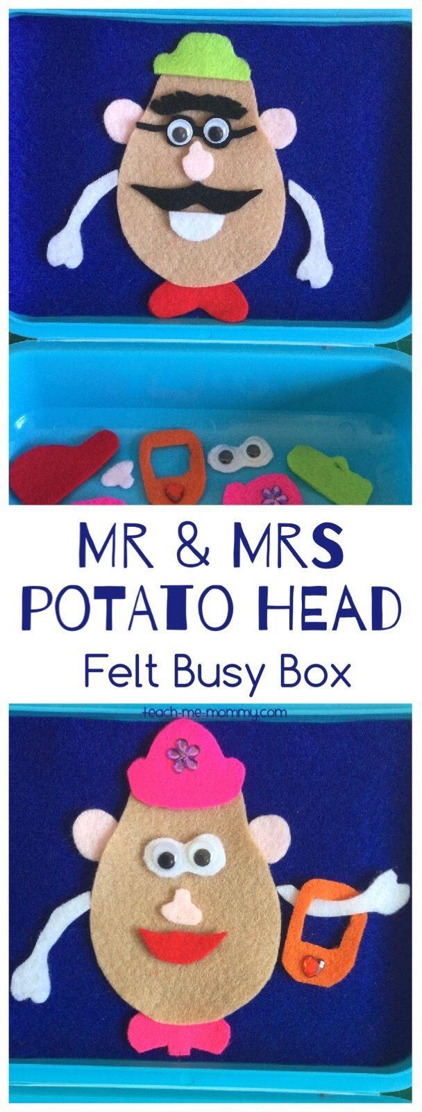 Potato Head Felt Busy Box Make this felt Mr & Mrs Potato Head busy box for hours of fun on the go! #mrpotatohead
