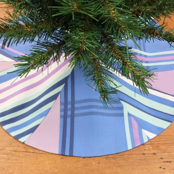 Mini Christmas Tree Skirt ~ Abstract At The Beach, Coastal Nautical, Small Tabletop, blue, violet, mint, white stripe plaid by FeeneyLane on Etsy