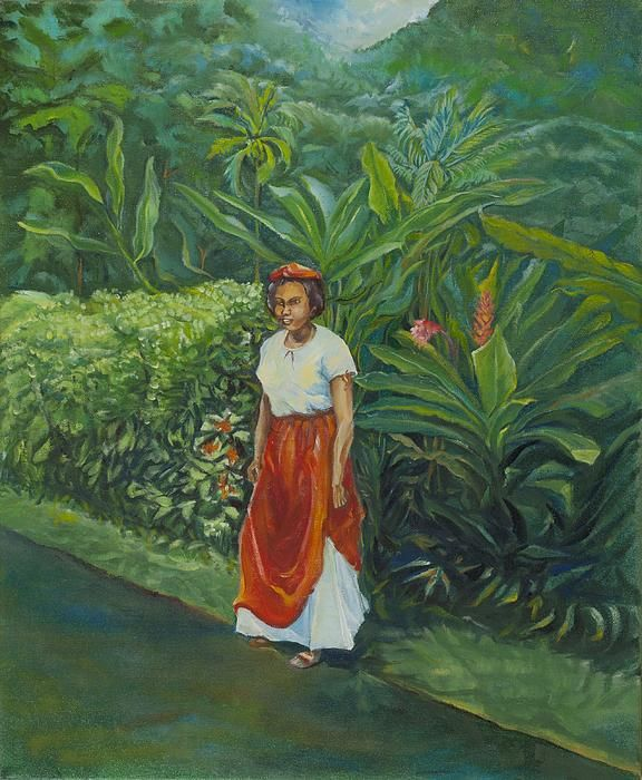 dominican arts and paintings | Dominican Girl Painting by Christian George - Dominican Girl Fine Art ...