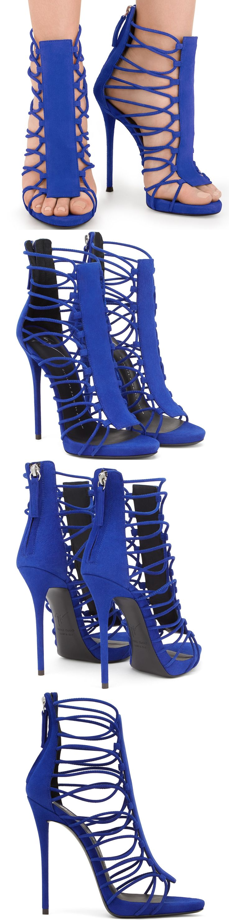 Straps climb the sides of these open-toe sandals, which front and back panels in rich blue suede add definition to the design.