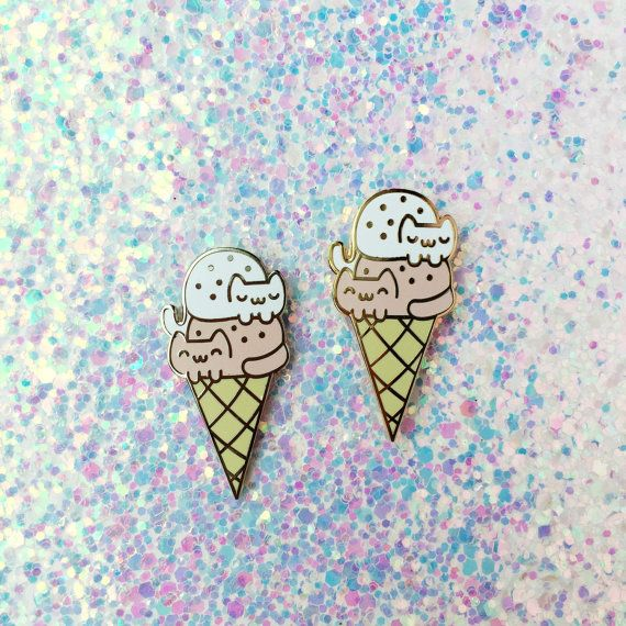 Hooray for a super cute Double-Dip Cat Cream Cone enamel pin! A double scoop of kawaii kittens ^_^   ♡ SPECS ♡ Quantity:1 Size: 1.25 inch height
