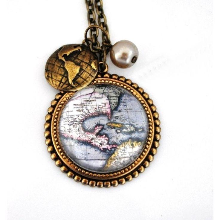 WORLD MAP  Vintage Tarzı Kolye http://ladymirage.com.tr/kolyeler.html/world-map-vintage-tarzi-kolye-17520649.html?limit=100 #dünya #harita #vintage #kolye #takı #tasarım #elyapımı