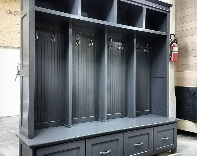 The Asheville Gray Mudroom Lockers Storage Bench Cubbies Halltree Furniture Entryway Shoe Storage Coat Hook Mudroom Lockers Locker Storage Entryway Shoe Storage