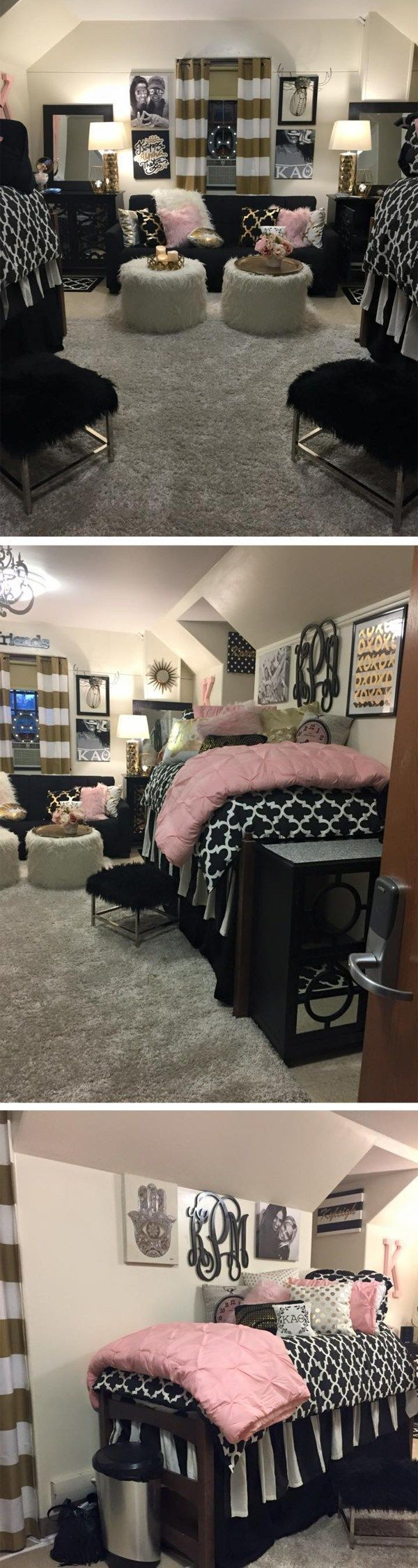 Having a lot of decor is great for coordinating dorm room ideas!