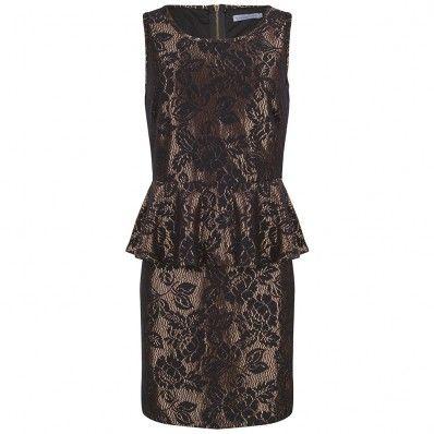 Mooie peplum jurk met kant en een bronzen onderlaag