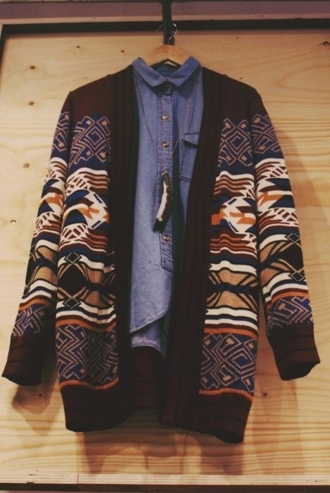 Denim shirt and cardy