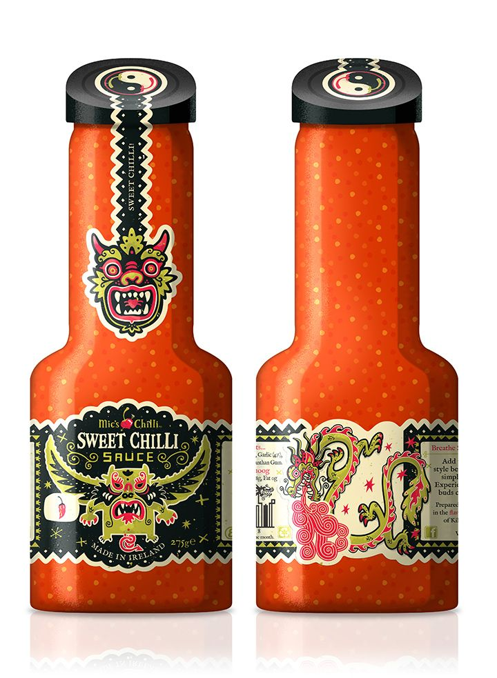 chilli sauce bottles | iGNANT  Illustrated by Steve Simpson for Irish Chilli co. Mic's Chilli