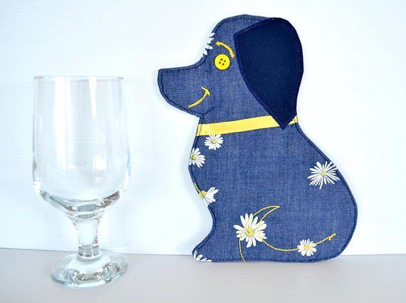 Dog mug rug animal coaster denim daisy drink mat cute gift