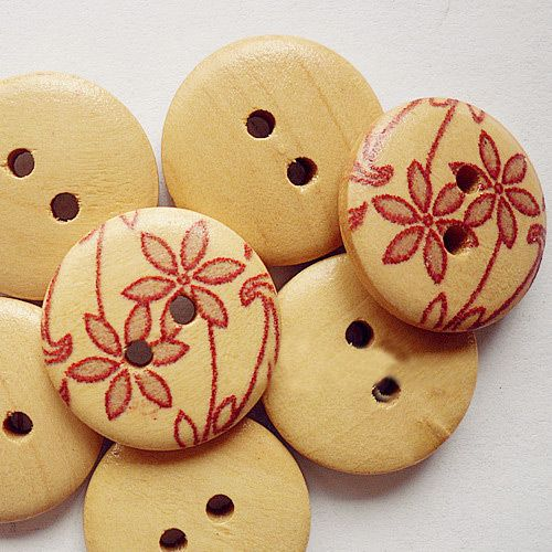 Fresh Painted 2-hole Basic Sewing Button, Wooden Buttons, Colorf