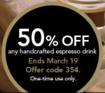 Starbucks Coupon: 50% off Any Handcrafted Espresso Drink