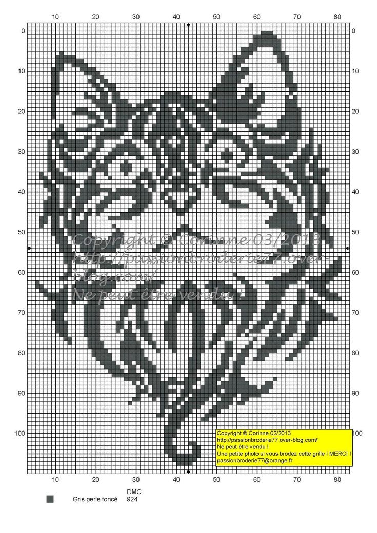 chat - cat - broderie - cross stitch - Tatoo - Point de croix - Blog : http://broderiemimie44.canalblog.com/