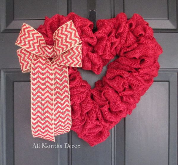 Red Burlap Heart Wreath with Red Chevron Bow