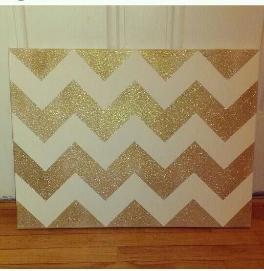 Gold glitter chevron canvas