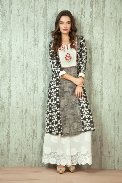 W16-19 - Cotton kurta embellished with thread work with cut work palazzo