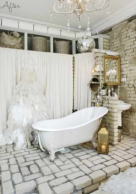 Swedish Bathroom Design With Exposed Brick Walls, Vintage Claw Foot Tub  Over Paved Floor, Gold Lantern, Wall Of Built In Cabinets Covered In  Off White ...